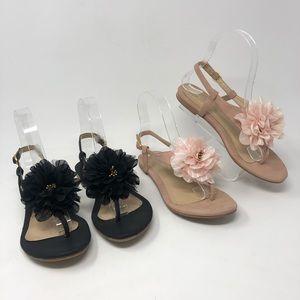 Aldo (2) Pairs Flat Thong Flower Sandals 6
